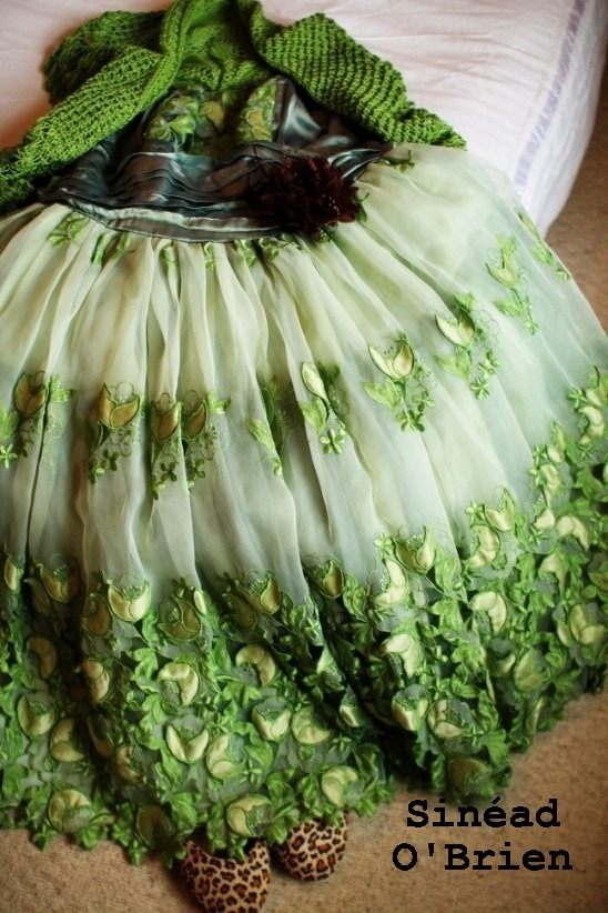 Lace vintage dress remade and dyed lime green