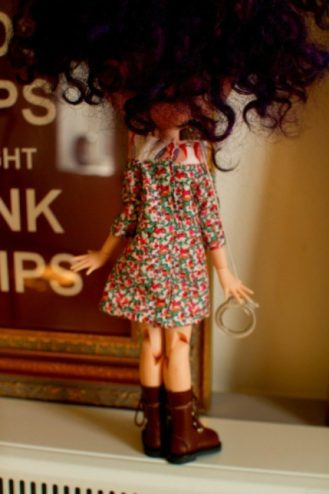 Blythe raglan dress sewing pattern - back view