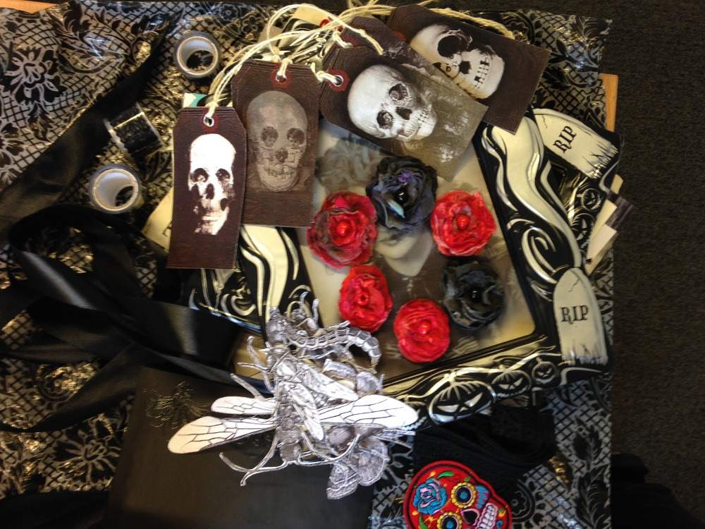 close up of various Gothic/Witch ephemera received in a recent swap